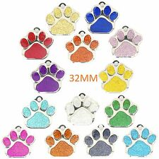 Dog ID Tag LARGE 32mm PET TAGS, Reflective Glitter Dog Paw  ENGRAVED OPTIONS