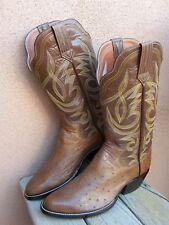 PAUL BOND Womens Handmade Cowboy Boots Brown Ostrich Western Riding Size 8M