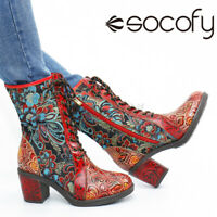 SOCOFY Women Floral Leather Short Boot Warm Lined Chunky Heel Shoes Splicing Zi