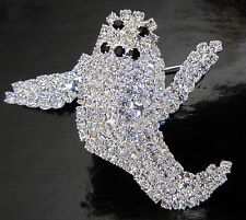 HALLOWEEN GHOST PIN BROOCH LOADED WITH BRIGHT RHINESTONES!