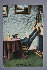 R&L Postcard: Bamforth, Single Bliss, Smoking Drinking, Young Free Bachelor