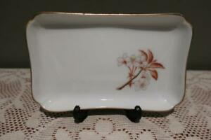 Ikenobo Rectangular Floral Trinket Dish - Oriental Pattern - Gilt Trim - Boxed
