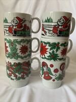 Vintage Trimont Christnas Stacking Mugs Set Of 6