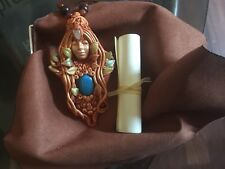 Spring Goddess Demeter Sita Pendant Necklace Set With Moonstone & Chyrsacola NIB