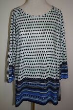 New Christopher Banks Shirt Multi Pattern Polka Dot 3/4 Sleeve Sequin Top Medium