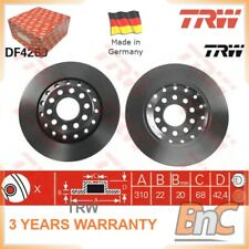 Solid Rear 1.4 2.0D 08 to 17 282mm Set TRW New VW SCIROCCO 2x Brake Discs Pair