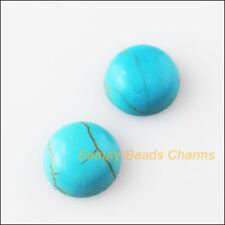40 New FlatBack Round Loose Cabochon Gemstone Blue Turquoise 6mm
