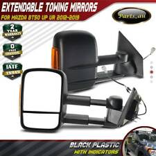 Black Extendable Towing Mirrors with Indicators for Mazda BT-50 2012-2019