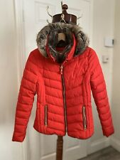 Joules Gosway Chevron Padded Coat in Red | UK 10