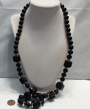 Vintage Jet Black Lucite Chunky Long Necklace, 30""
