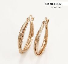 9ct 9K Gold Plated Ladies Girls Plain Large Hoop Earrings 50mm Gift YIkvwRF9MP
