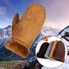 New Fashion Women's Real Sheepskin Mittens Gloves Fur Trim Leather Winter Warm B