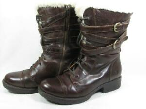 Born Zuniga Shearling Lined Moto Boot Women size 7 Brown Leather