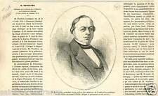 Portrait Constant Thuillier membre du Conseil d'État à Paris GRAVURE PRINT 1865