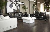 """Dark Brown Croc-Skin 100/% Genuine Leather 87/"""" Button Tufted Sleeper Sofa Bed"""