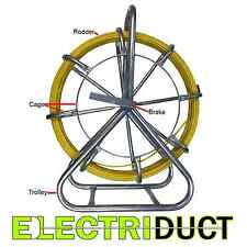 """200FT x 1/4"""" Diameter Cable Rodder Duct Coated Fiberglass w Cage and Stand"""