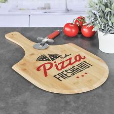 Bambus Pizzabrett - Holz Pizzateller Pizza Schneidebrett Holzbrett Pizzaschieber