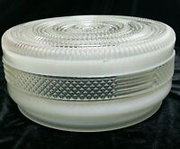 "Mid-Century Ceiling Globe Cover Round White & Clear Glass 8.5"" Vintage"