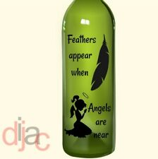 VINYL DECAL STICKER FEATHERS APPEAR for WINE BOTTLE, CANDLE, LANTERN 17.5 x 8 cm