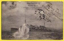 "cpa Rare 1915 MALTE Le Croiseur Cuirassé VICTOR HUGO ""Totor"" Attaqué par un AÉRO"
