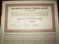 Manufacturas Serra-Balet SA  (Spain) Share certif.1973