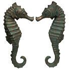 "Set of 2 Seahorse Wall Sculptures Sea Life Marine Figures Verdigris Bronze 24"""