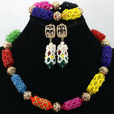Multi Color New Design Nigerian Beads Bridal Wedding Jewelry Party Necklace Set