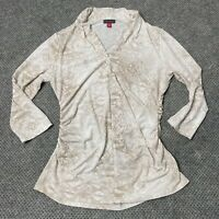 Vince Camuto Snakeskin Blouse Top Shirt Size Medium V Neck 3/4 Sleeves Scrunched