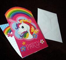 Einladungskarten Einhorn 8-er Packung    Kindergeburtstag Party Einladung