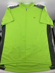 PEARL IZUMI Cycling Jersey IQ Select MENS LARGE Neon Green Zip Up 3 Pocket