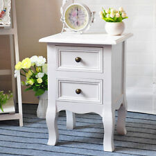 2pcs White Bedside Tables with 2 Drawer Cabinets table Furniture Nightstand