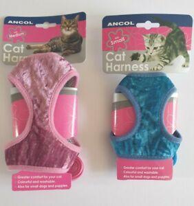 Ancol Velvet Cat Comfort Harness & Lead Set Soft Fabric 3 Sizes S M L