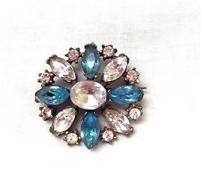 Vintage 1940's Aqua Blue And Clear Crystal Rhinestone Brooch Pin