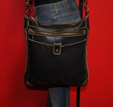 ROOTS Black Leather Zipper Tote Shopper Cross-Body Messenger Purse Bag CANADA