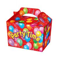 20 Red Party Time Party Boxes - Food Meal Loot Lunch Cardboard Gift Kids