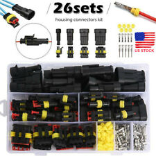 1-4 Pin Electrical Wire Connector Plug Waterproof Automotive Plug 26 Sets/Kit US