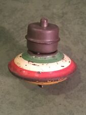EARLY ANTIQUE GIBBS TOY MECHANICAL SPINNING TOP HAND PAINTED