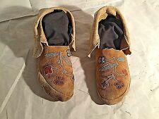 Plains Indian Hand Made Native Tanned Leather Moccasins circa 1940's
