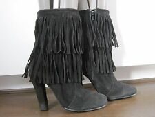 Women's black suede tasselled ankle boots size 6 (39)