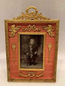 """ANTIQUE BRONZE PICTURE FRAME WITH GORGEOUS BRONZE MOUNTS  5"""" x 7 3/8"""""""