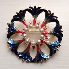 Pink Enamel w/Pearls, Gold-tone Alloy Round Flowers Brooch Pin Blue,