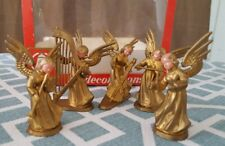 Vintage 60's Made in Hong Kong 5 Piece Set of Gold Painted Plastic Angels