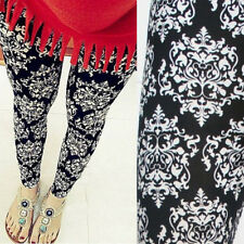 Gothic Black/White Damask Printed Stretch Yoga Tight Costume Everyday Leggings