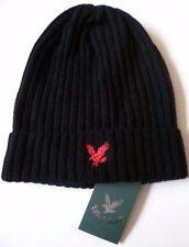 Lyle & Scott black beanie hat red eagle NEW wool woollen mens winter