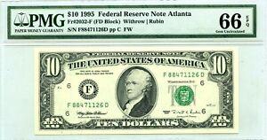 $10 1995 FEDERAL RESERVE ATLANTA PMG GEM UNC F 2032 F LUCKY MONEY VALUE $200