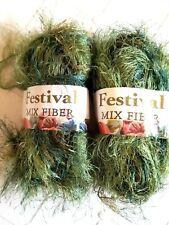 Festival Mix Eyelash Yarn Green Novelty - lot of 2