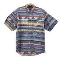 Vtg 90s CHAPS Ralph Lauren Native Print Button Down Front Shirt Sz M Aztec Polo