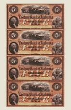 1800's Eufaula, Alabama $5 RED Uncut Banknote Sheet COPY scarce tint color