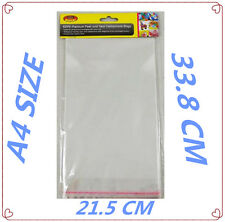 40 PACK PEAL & SEAL TRANSPARENT CLEAR CELLOPHANE BAGS - A4 SIZE- PARTY BAG