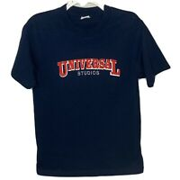 Universal Studios Blue T Shirt With Raised Lettering Cotton Embroidered